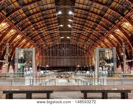 ANTWERP, BELGIUM - 10 SEPT. 2016: Interior of the Central Railway Station in the city of Antwerp, Belgium. It is considered one of the most beautiful in Europe.