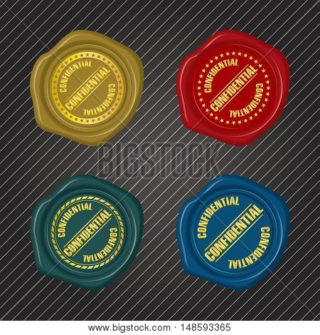 Different color Confidential Wax Seals with circular floral frame