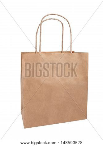 brown paper bag eco-friendly package isolate on white