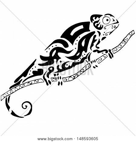 Hiqh quality chamelion drawn in original style for coloring, tattoo or other needs