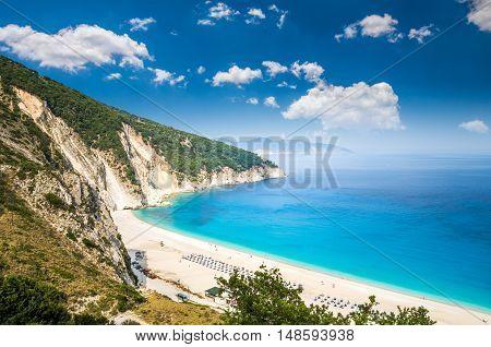 Myrtos beach, Kefalonia island, Greece. Beautiful view of Mirtos bay and beach on Kefalonia island