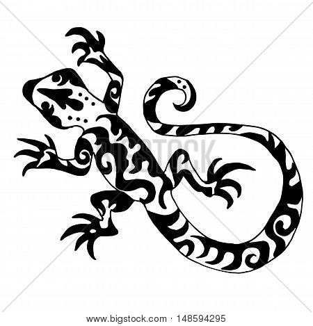 Hiqh quality origanl lizard or salamander drawn for coloring or tattoo