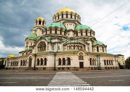 St. Alexander Nevsky Cathedral in the center of Sofia, capital of Bulgaria against the morning sky with clouds