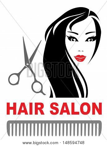 Hair Salon Icon With Girl And Scissors