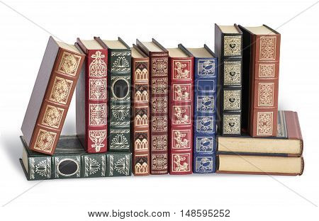 Old antique books against a white background with clipping path