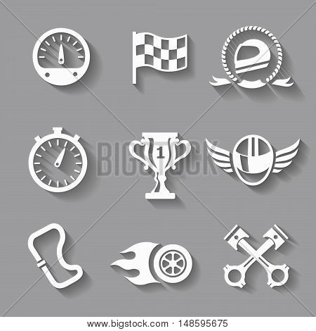 Car race icons set with shadow. Stopwatch and speedometer, tire and pedestal, helmet and cup, winning finish, flag vector illustration