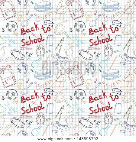 Back to school themed doodle seamless pattern with stationery. Vector illustration.