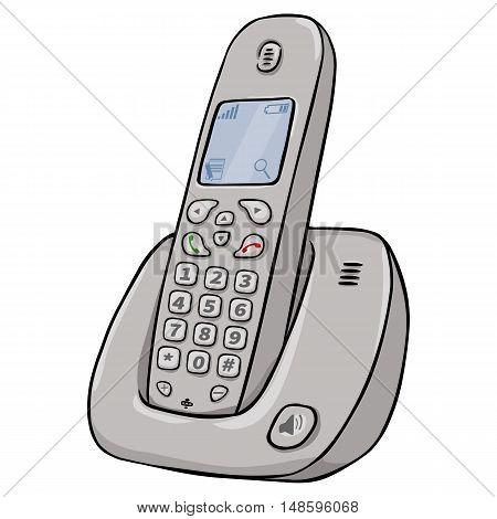 Vector Cartoon Cordless Phone
