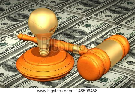 Light Bulb Legal Gavel Concept 3D Illustration