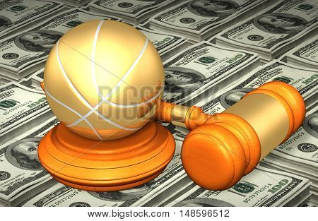 Basketball Legal Gavel Concept 3D Illustration
