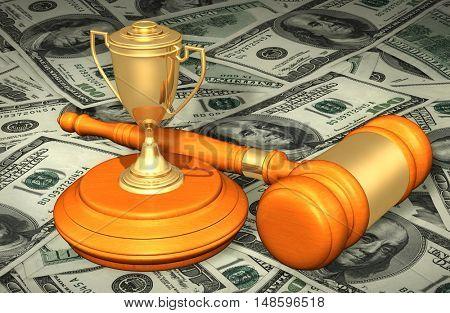 Award Trophy Legal Gavel Concept 3D Illustration