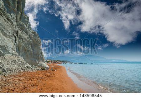 Xi Beach, Kefalonia Island, Greece. Beautiful view of Xi Beach, a beach with red sand in Kefalonia, Ionian Sea.