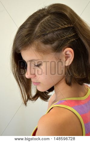 Hair with short hair - fine weaving, young model on a white background