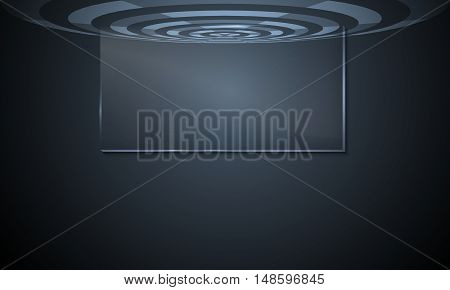 Vector abstract background with transparent circular objects and glass panel