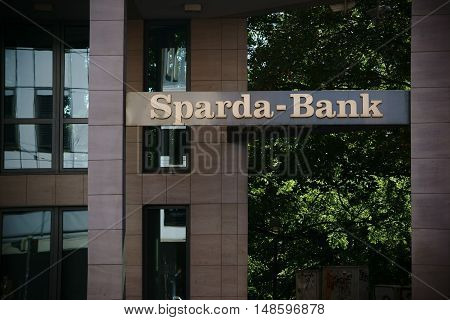 BREMEN, GERMANY - AUGUST 30: Modern exterior facade of the Sparda Bank building with windows and pillars on August 30, 2016 in Bremen.