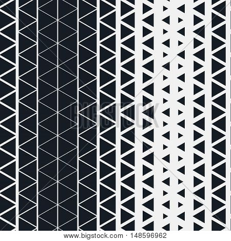 Seamless pattern for design. Simple stylish vector background. Monochromatic modern minimalistic geometric pattern with triangles. Triangles size changes gradually in columns.