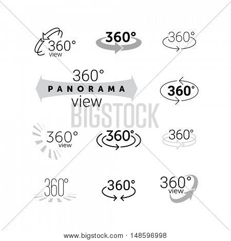 360 degrees view icon. Vector line panorama camera view symbol set. Rotation arrows
