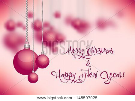 Holiday card with christmas balls for greeting with New Year and Christmas on pink blurred background. Vector illustration