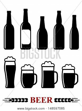 Beer Bottle And Mug With Foam Set Icon