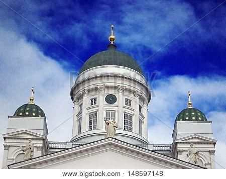 Beautiful view of famous Helsinki Cathedral, Helsinki, Finland