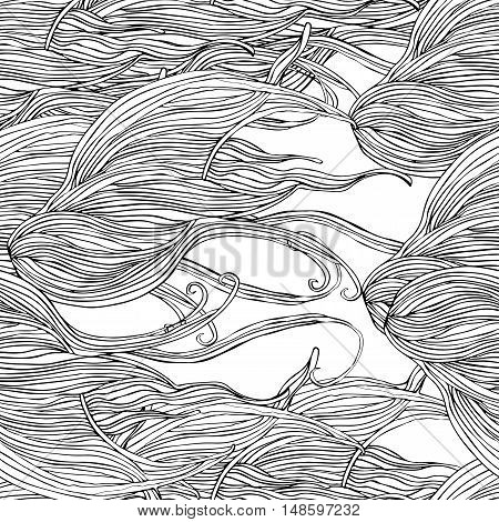 Vector seamless hair pattern with line structure. Uncolored background can be used as adult coloring book.