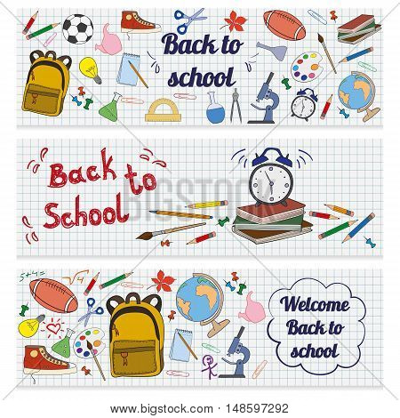 Set of three horizontal banners with school supplies. Doodle back to school background.