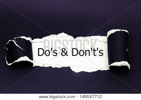 Do's and Don't's Message written under torn paper.
