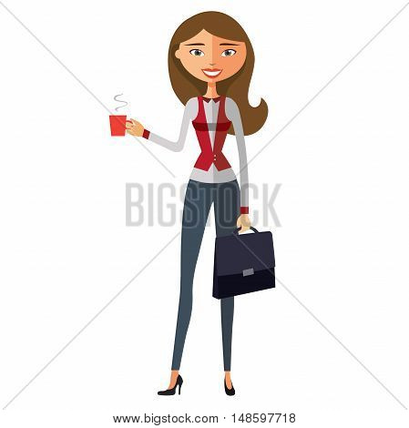 Glamorous young girl with cup. Smiling business woman holding cup.Vector.