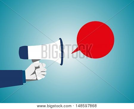 Loudspeaker In A Man's Hand. Alert, Announcement, Warning, Advertising Concept. Talking, Shouting In