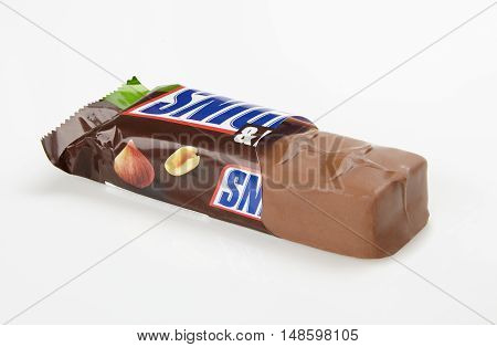 Odessa Ukraine - September 5 2016: Snickers chocolate bar with hazelnuts and peanuts. Snickers bars are produced by Mars Incorporated.