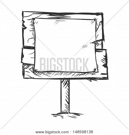 Vector Single Sketch Signpost