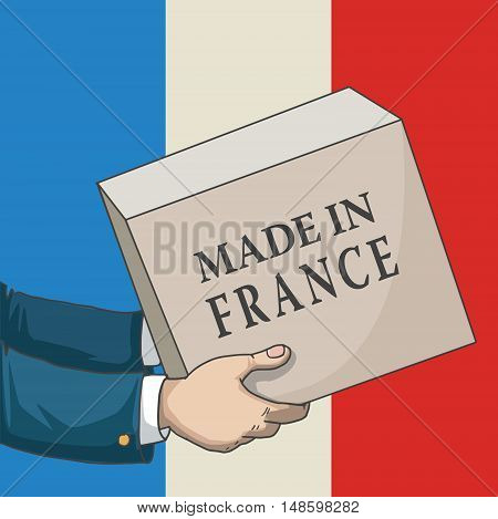 Cartoon, hand drawn human hands, holding a box, with made in France sign, and a flag background, vector illustration