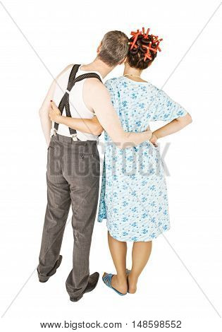 Funny Family Couple Embracing And Looking Up