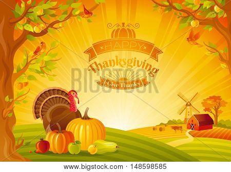 Thanksgiving day vector illustration of beautiful autumn landscape on sunny background, modern elegant text lettering, copy space. Countryside fall farm thankful symbols - pumpkin, turkey bird, fruit