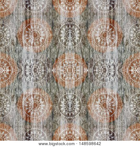 Seamless background pattern with blurred flowers and wooden texture for scrapbook wall table texture veneer and parquet. Mirror reflection Collage. Kaleidoscope montage for flooring parquet floor