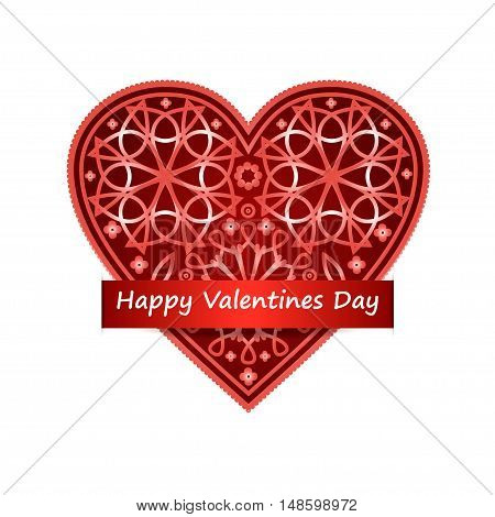 Ornate heart vector illustration. Happy Valentine's Day