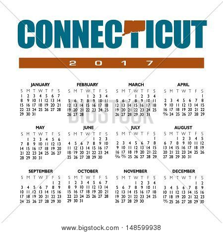 A 2017 creative Connecticut calendar with the state outline