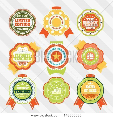 Vector set of isolated labels to the World teacher's day against the background of striped.