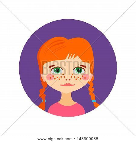 Female girl face avatar profile head. Vector illustration for beauty design. Flat icon isolated on white background. Women close up portrait.