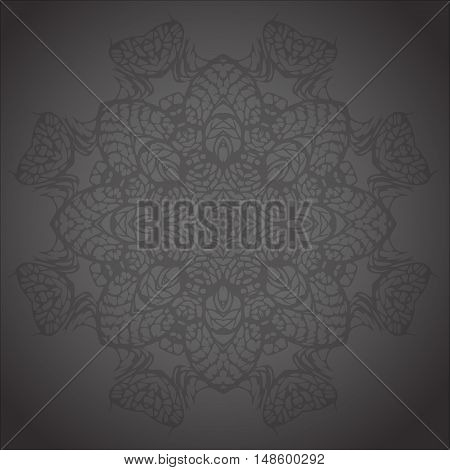 round ornament on black background. Vector illustration with vintage round ornament. Circle lace ornament round ornamental geometric doily pattern
