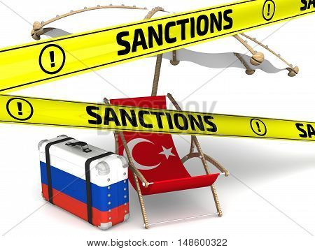 Russian sanctions against Turkey. Sunbed with a flag of Turkey a suitcase with the flag of the Russian Federation a beach umbrella and yellow warning tapes with inscription