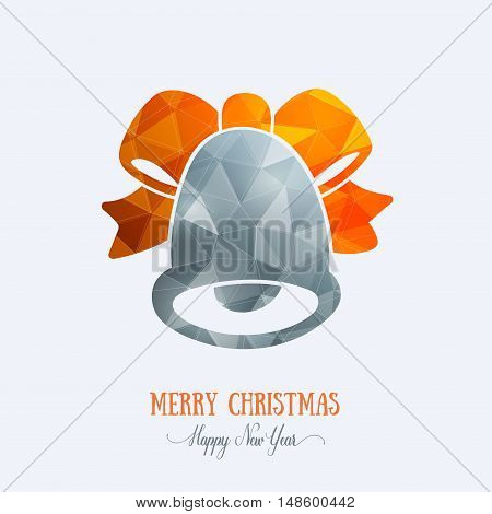 Merry Christmas card creative decoration. Happy New Year element design. Modern polygonal grey bell with orange bow, ribbon. Handbell hand drawn template for winter holiday sale and shopping.