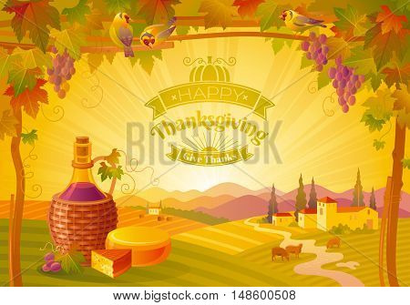 Thanksgiving vector illustration of beautiful autumn landscape on sunset background, modern style with vineyard, elegant text lettering, copy space. Countryside fall farm symbols, wine bottle, cheese