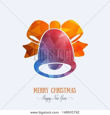 Merry Christmas card creative decoration. Happy New Year element design. Modern polygonal blue bell with orange bow, ribbon. Handbell hand drawn template for winter holiday sale and shopping.