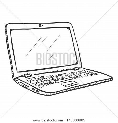 Vector Single Sketch Open Laptop