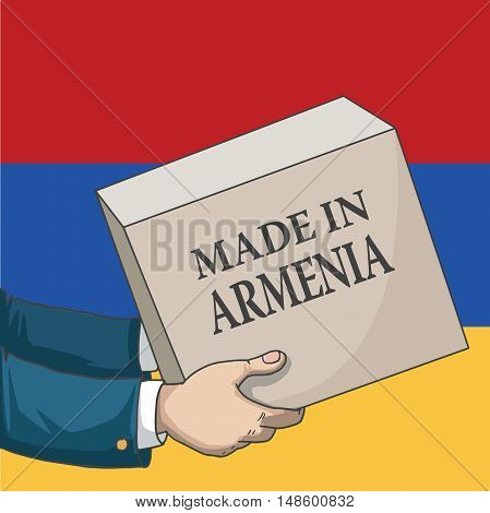 Cartoon, hand drawn human hands, holding a box, with made in Armenia sign, and a flag background, vector illustration