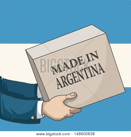 Cartoon, hand drawn human hands, holding a box, with made in Argentina sign, and a flag background, vector illustration