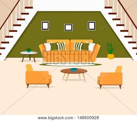 Furniture. Interior. The living room with stairs.