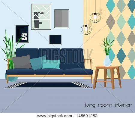 Living room. Sofa with table and lamp.