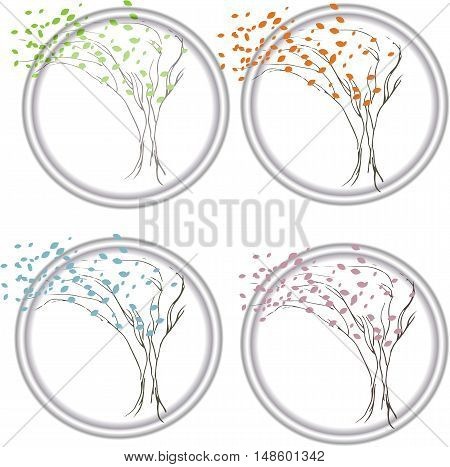 Abstract trees - four seasons. set of abstract seasonal trees. Set of Colorful Season Tree logo, vector illustration